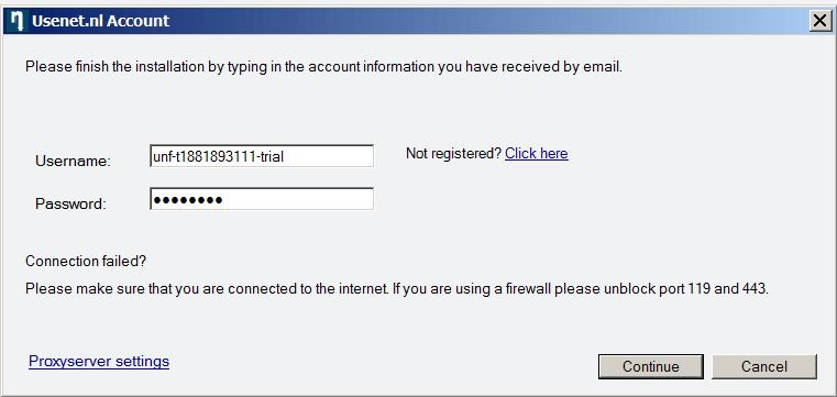 Usenet Zugangsdaten