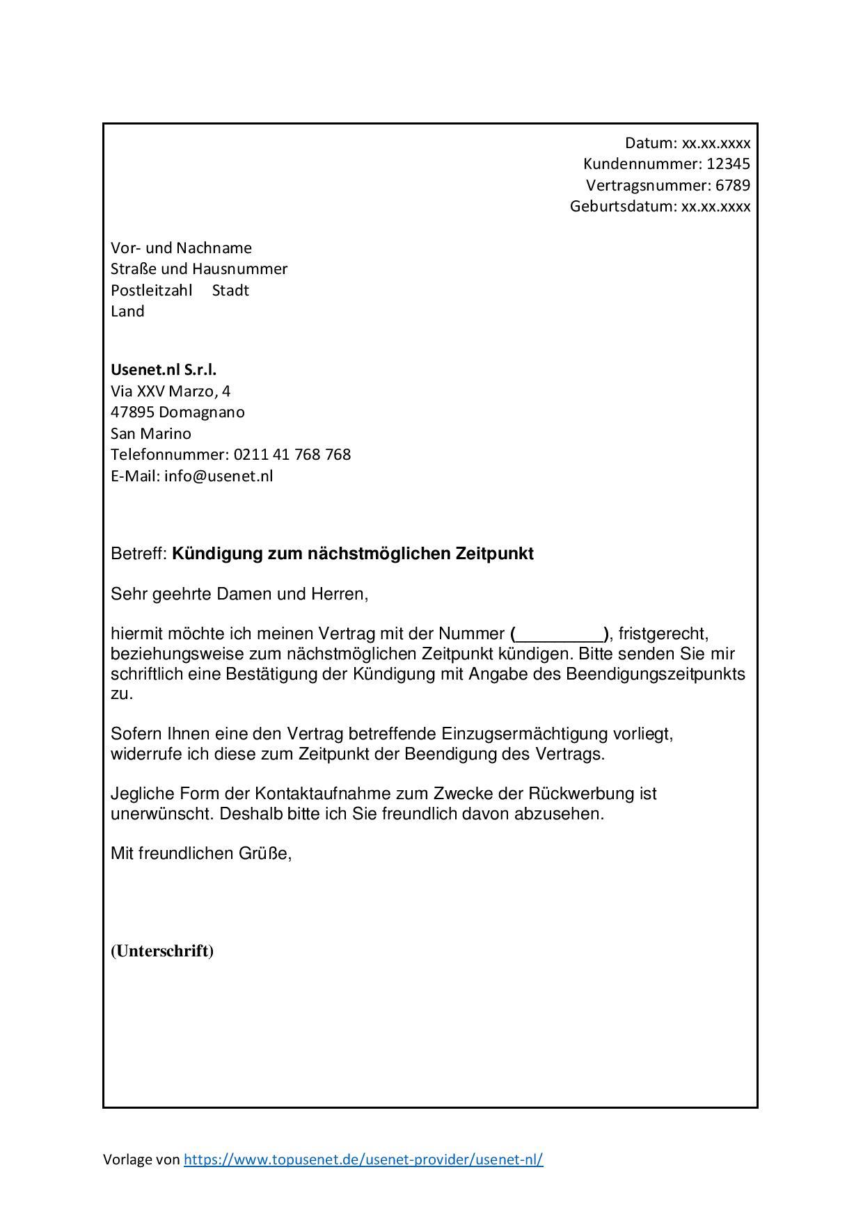 Usenet.nl Kündigen Vorlage als JPG